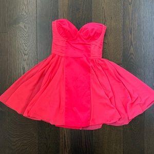 ASOS Neon Pink Strapless Skater Skirt